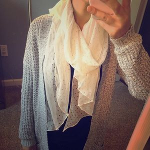 Women's Silky White Rectangle Scarf